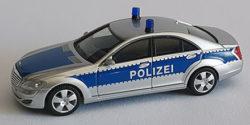 Mercedes Benz S-Klasse Polizei gepanzert Werttransportbegleitung silber/blau Einzelleuchten